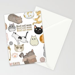 Cat Collage Cartoon Cats Gift for Cat Owners Stationery Cards