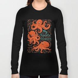 Fun orange octopus on turquoise background. Long Sleeve T-shirt