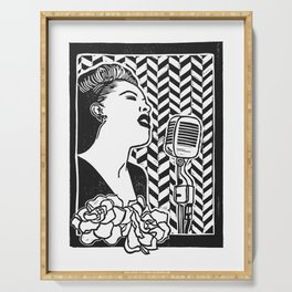 Lady Day (Billie Holiday block print blk) Serving Tray