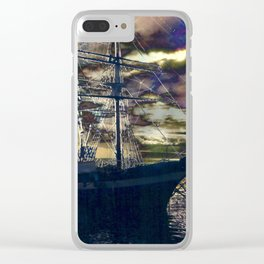 Lahaina Whaling Ship Sunset Clear iPhone Case