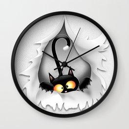 Fun Cat Cartoon in ripped fabric Hole Wall Clock