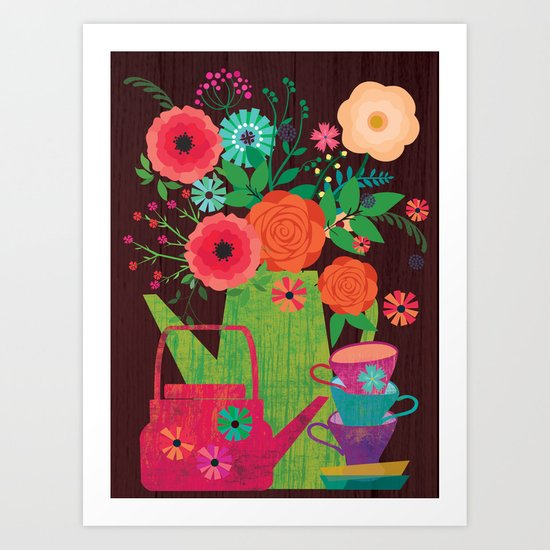 Flowers in a coffee pot Art Print