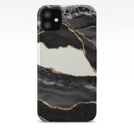 In the Mood Black and Gold Agate iPhone Case