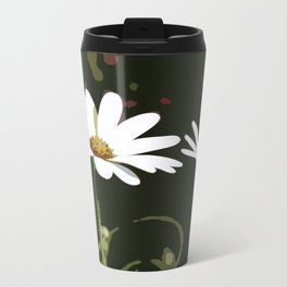 White Daisy Metal Travel Mug