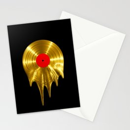 Melting vinyl GOLD / 3D render of gold vinyl record melting Stationery Cards