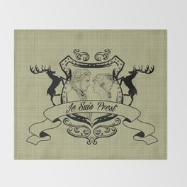 Outlander Je Suis Prest linen Throw Blanket