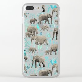 Sweet Elephants in Soft Teal Clear iPhone Case