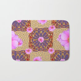Quilted Style Fuchsia Pink Wild Rose  Grey Pattern Abstract Bath Mat