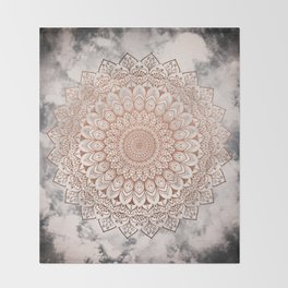 ROSE NIGHT MANDALA Throw Blanket