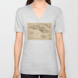 Islands of Cuba and Jamaica Map (1788) Unisex V-Neck