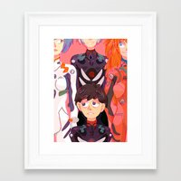 evangelion Framed Art Prints featuring Evangelion Kids by minthues