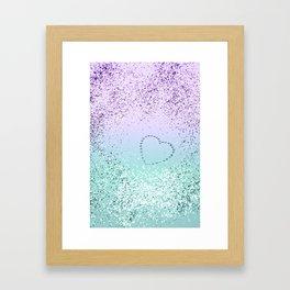 Sparkling MERMAID Girls Glitter Heart #1 #decor #art #society6 Framed Art Print