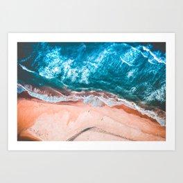 Deep Blue Ocean Waves | Orange Beach Aerial View Art Print