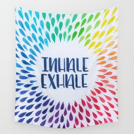 Hand Lettered Water Color - Inhale Exhale - Yoga and Meditation Decor Wall Tapestry