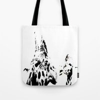 giraffes Tote Bags featuring Giraffes  by Digital-Art