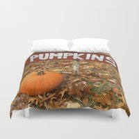 pumpkin Duvet Covers featuring Pumpkin Sign by redcoatstudiocolor