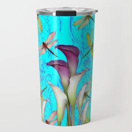 BLUE ART GOLDEN DRAGONFLIES CALLA LILIES Travel Mug