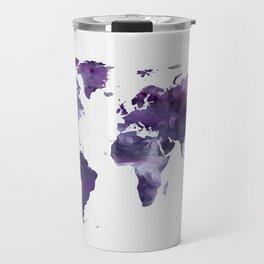 Purple World Map Travel Mug