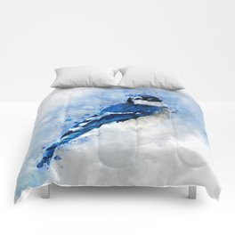 Watercolour blue jay bird Comforters