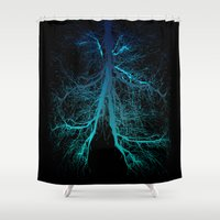 lungs Shower Curtains featuring Aqua Lungs by MUSENYO