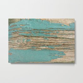 Rustic Wood Ages Gracefully - Beautiful Weathered Wooden Plank - knotty wood weathered turquoise pai Metal Print