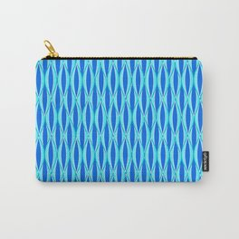 Mid-Century Ribbon Print, Shades of Blue and Aqua Carry-All Pouch