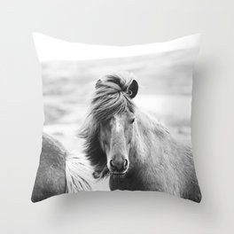 Horse Photograph in Iceland Throw Pillow