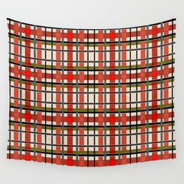 Gray beige orange plaid Wall Tapestry