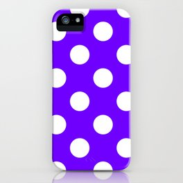 Large Polka Dots - White on Indigo Violet iPhone Case