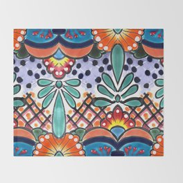Colorful Talavera, Orange Accent, Large, Mexican Tile Design Throw Blanket