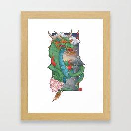 Dragon of Sakura Temple Framed Art Print