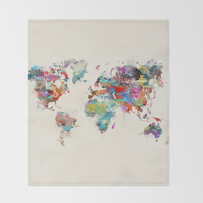 World map watercolor throw blanket by bribuckley society6 world map watercolor throw blanket gumiabroncs Image collections