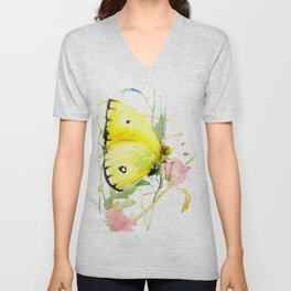 Soft Yellow Butterfly and Pink Flower, pink turquoise lemon yellow girls room art, design Unisex V-Neck