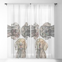 Triple Hunting Dogs Sheer Curtain