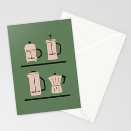 Volturno & French Press Coffee #4 opaque green & vintage pink Stationery Cards
