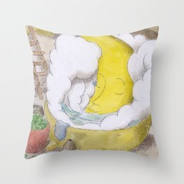 The Moon in a Hottub Throw Pillow