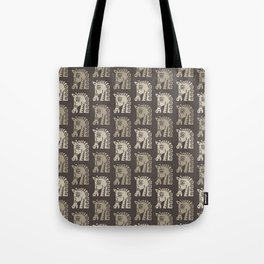 Mid Century Horse Pattern Neutral Tote Bag