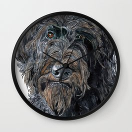 Pokey the Black Labradoodle Wall Clock