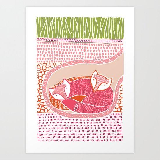 Sleepy Happy Foxes Art Print