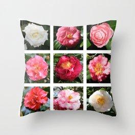 Beautiful Camellias Collage Throw Pillow