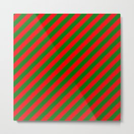 Red and Green Christmas Candycane Stripes Metal Print