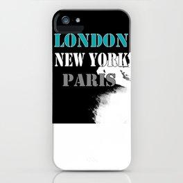 London , New York , Paris. Grunge . iPhone Case