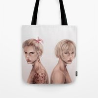 twins Tote Bags featuring Twins by emametlo