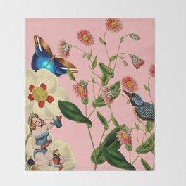 Big Flowers dream pink Throw Blanket