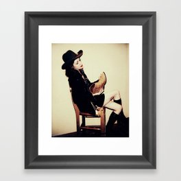 High Contrast Cowgirl Framed Art Print