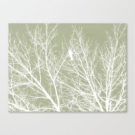 White Bird in White Tree - Moss A593 Canvas Print