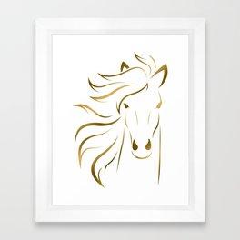 Golden Horse Drawing Framed Art Print