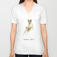 jack russell V-neck T-shirts featuring Jack Russell by Katherine Coulton