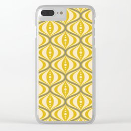 Retro Mid-Century Saucer Pattern in Yellow, Gray, Cream Clear iPhone Case