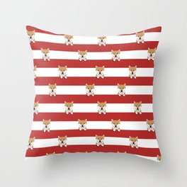 shiba inu stripes dog breed gifts Throw Pillow